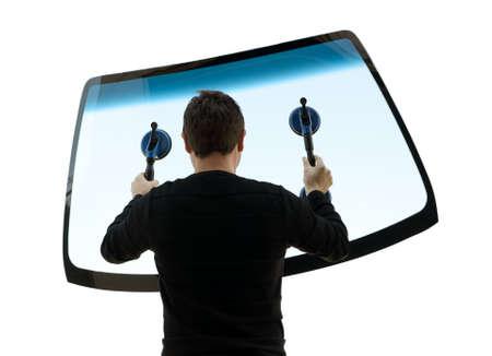 zastąpić: mężczyzna trzyma siÄ™ szyby Zdjęcie Seryjne