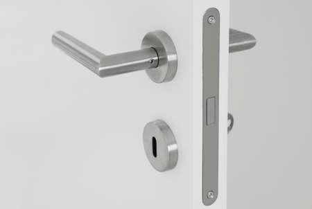 poignée de porte moderne sur fond blanc porte ouverte