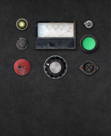 ampere: vintage weathered ampere meter dashboard setting with copy space
