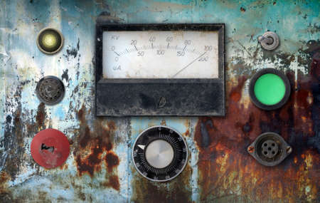 old weathered vintage ampere meter control panel photo