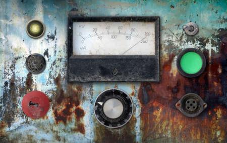 ampere: old weathered vintage ampere meter control panel