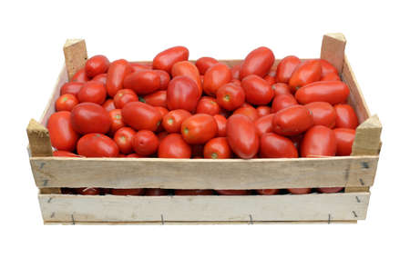 wooden crate full of fresh raw tomatoes Stock Photo