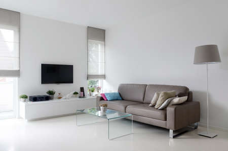 living room window: White living room with taupe leather sofa and glass table Stock Photo