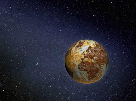 illustratie van roestige vervuilde planeet aarde in de ruimte Stockfoto