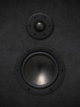 tweeter: black fabric loudspeaker with tweeter and bass