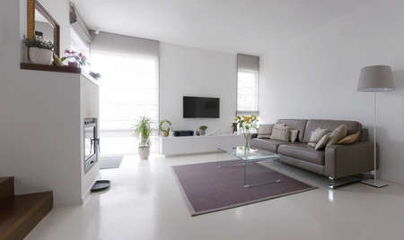 White living room with taupe leather sofa and glass table Imagens