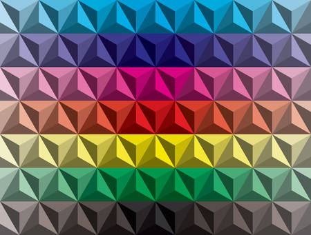 color spectrum: trendy low poly three sided pyramids color gradient