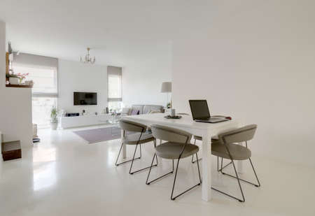 image of modern white dining and living room Zdjęcie Seryjne - 50382960