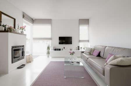 beeld van de moderne woonkamer met taupe sofa Stockfoto