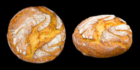 corn bread top and side view isolated on black background