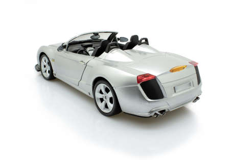 rear of an isolated toy sports car Stock Photo