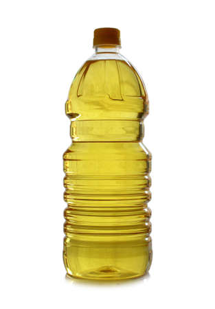 isolated plastic bottle of olive oil on white