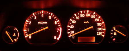 tachometer: car dashboard at night for backgrounds
