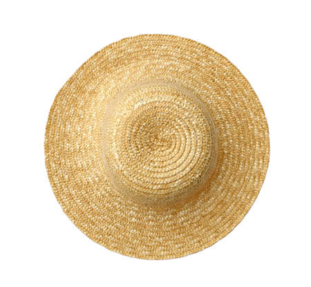 a straw: top view of straw hat on white