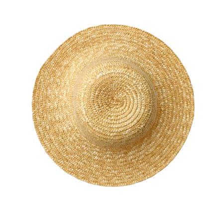 ropa de verano: Vista superior de sombrero de paja en blanco
