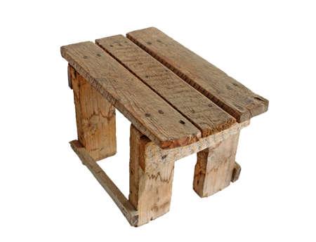 old handmade stool on white Stock Photo - 9543903