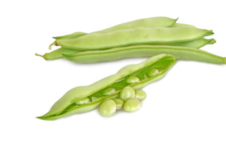 fresh runner beans isolated on white photo