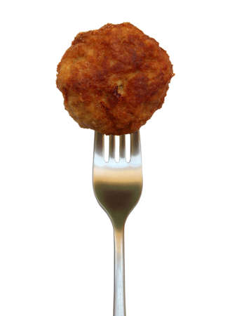 isolated fried meatball on white