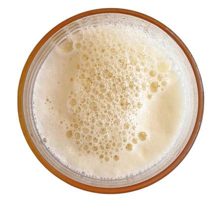 beer foam: glass of beer top view Stock Photo