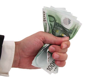 to tight: businessman keeping a tight grip on his money Stock Photo