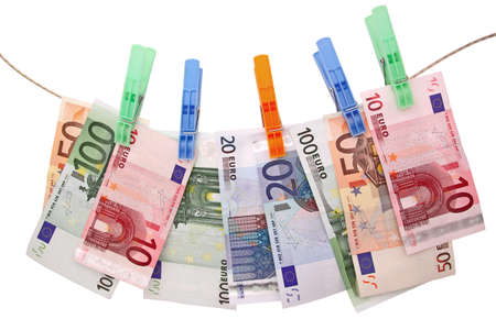 euro banknotes on clothesline Stock Photo - 11263337