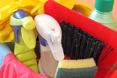 cleaning products in bucket photo