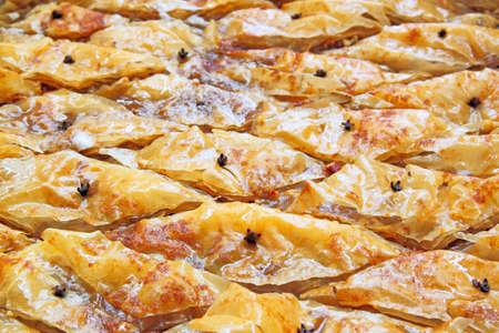 fillo: baklava pieces in tray Stock Photo