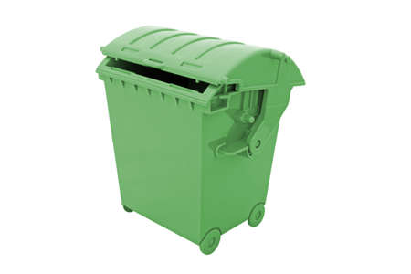 green garbage container on white photo