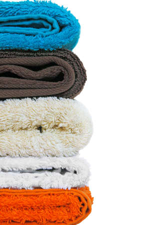 variety of body towels on white