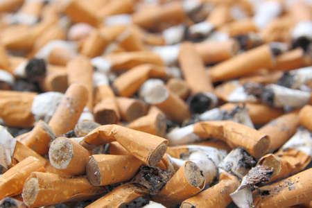 mumerous cigarette butts  photo