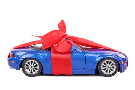 red packet: Car with red ribbon  Stock Photo