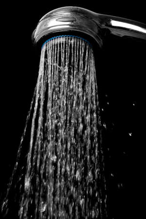 shower head with flowing water