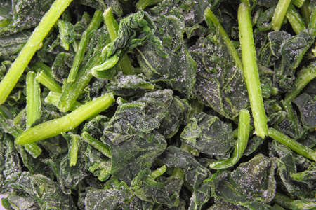 spinach salad: closeup of frozen spinach