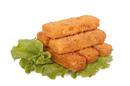 breaded: fish sticks on lettuce leaf