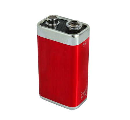 9v battery: red 9V battery  Stock Photo