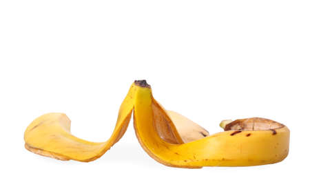 banana peel on white photo