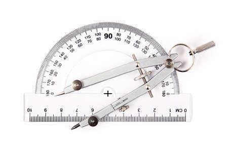 cm: compass on protractor