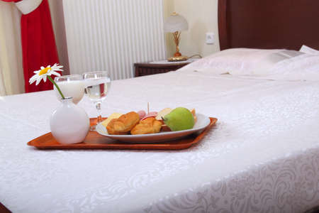 breakfast served on bed photo