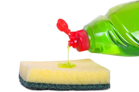 household tasks: dish liquid being poured onto sponge