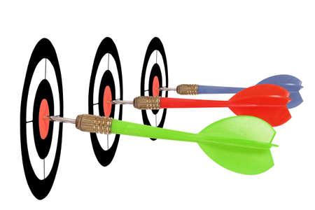 dart board: bullseye for three different darts