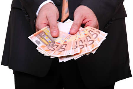man is holding many euro banknotes photo