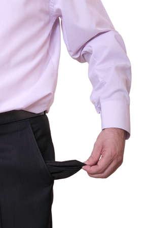 perdidas y ganancias: hombre de negocios arruinado est� mostrando su bolsillo vac�o