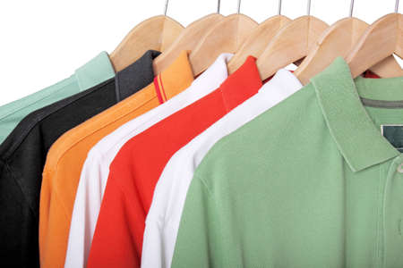 colorful t-shirts on hangers