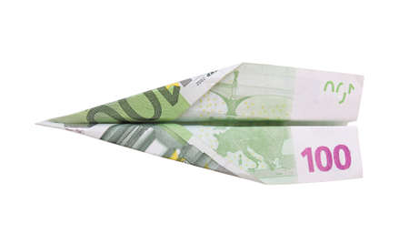 euro banknote: plane made from a hundred euro banknote