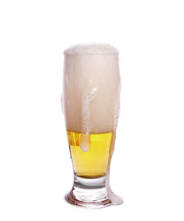 full glass of beer on white Stock Photo - 14970538
