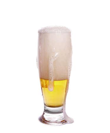 full glass of beer on white Stock Photo - 14970538