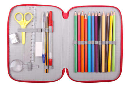 pencil case: pencil case with school items Stock Photo