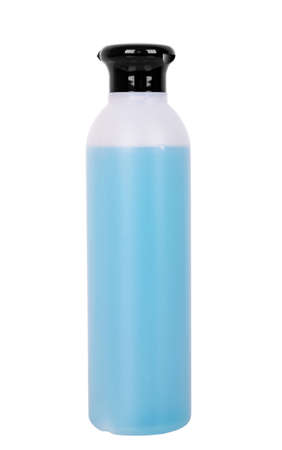 hair styling: bottle of shampoo on white