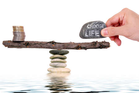 concept with man choosing slower pace of life over more money Stock Photo - 15899735