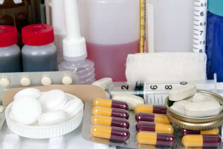 closeup of variety of pharmaceutical products photo